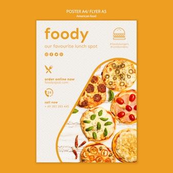Plakat szablon amerykańskie jedzenie