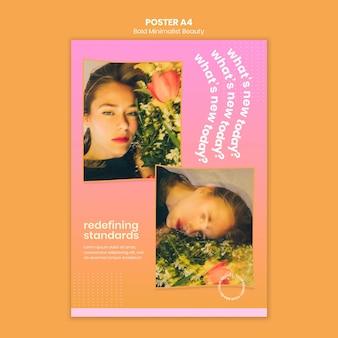 Plakat szablon ekologicznych produktów kosmetycznych