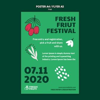 Plakat szablon festiwalu owoców