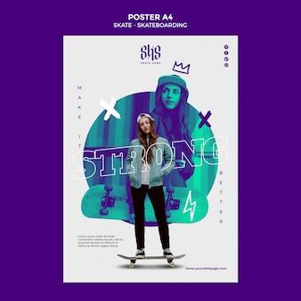 Plakat szablon koncepcja skateboardingu