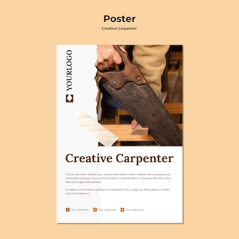 Plakat szablon kreatywnych stolarz