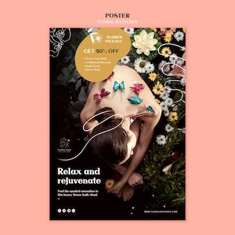 Plakat szablon kwiatowy spa