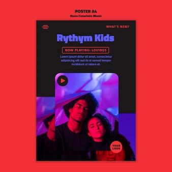Plakat szablon neon futurystycznej muzyki