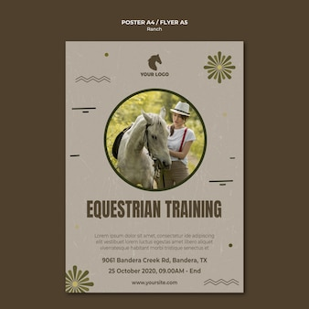 Plakat szablon rancza koni
