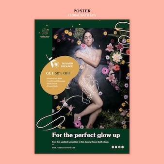 Plakat szablon reklamy kwiatowy spa