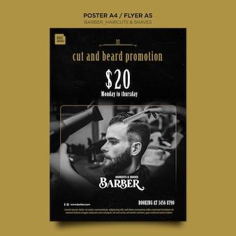 Plakat szablon reklamy sklepu fryzjerskiego