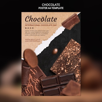 Plakat szablon sklepu z czekoladą