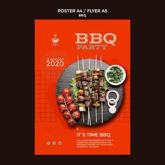 Plakat szablon strony grill