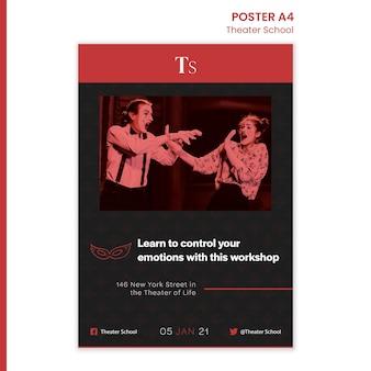 Plakat szablon szkoły teatralnej