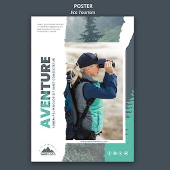 Plakat szablon turystyki ekologicznej