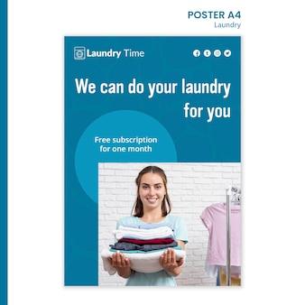 Plakat szablon usługi pralni