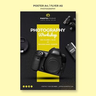Plakat szablon warsztatów fotograficznych