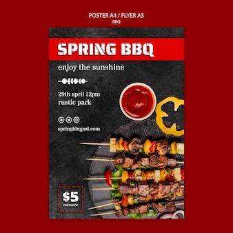 Plakat szablon z koncepcją grilla