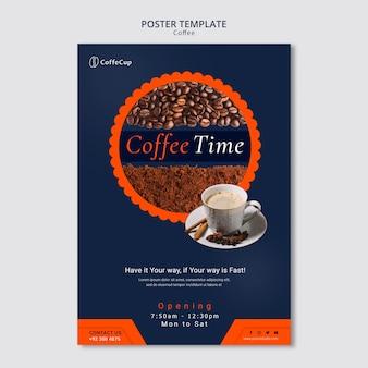 Plakat szablon z koncepcją kawy