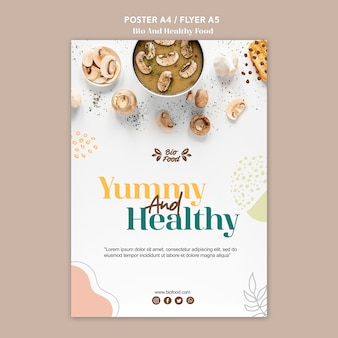 Plakat szablon z koncepcją zdrowej żywności