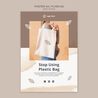 Plakat szablon z koncepcją zero odpadów
