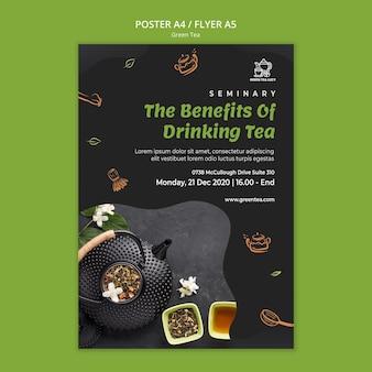 Plakat szablon zielonej herbaty
