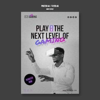 Plakat szablonu do gier w wirtualnej rzeczywistości