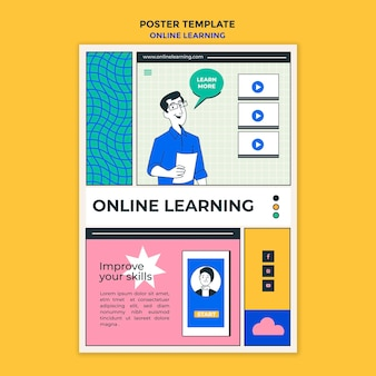 Plakat szablonu do nauki online