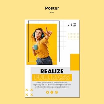 Plakat szablonu platformy muzycznej