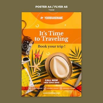 Plakat szablonu reklamy biura podróży