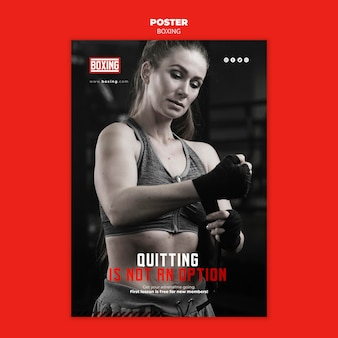Plakat szablonu reklamy bokserskiej