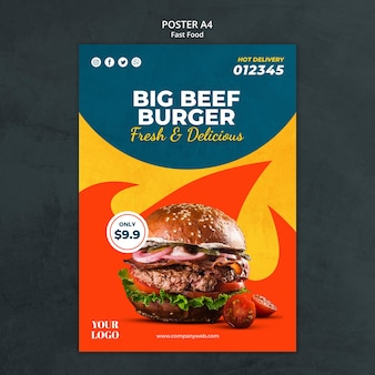 Plakat szablonu reklamy fast food