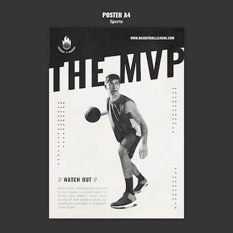Plakat szablonu reklamy koszykówki