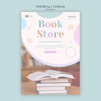 Plakat szablonu reklamy księgarni