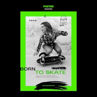 Plakat szablonu reklamy na łyżwach