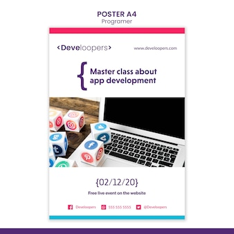 Plakat szablonu reklamy programisty