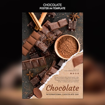 Plakat szablonu reklamy sklepu z czekoladą