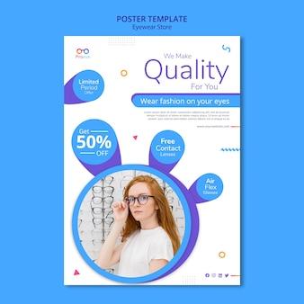 Plakat szablonu reklamy sklepu z okularami