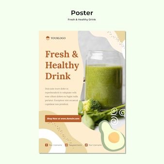 Plakat szablonu reklamy soków owocowych