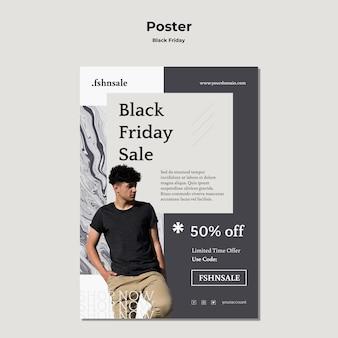Plakat szablonu reklamy w czarny piątek