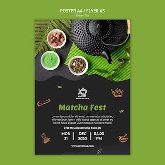 Plakat szablonu reklamy zielonej herbaty
