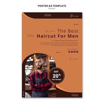 Plakat szablonu sklepu fryzjerskiego
