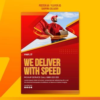 Plakat usługi dostawy ekspresowej