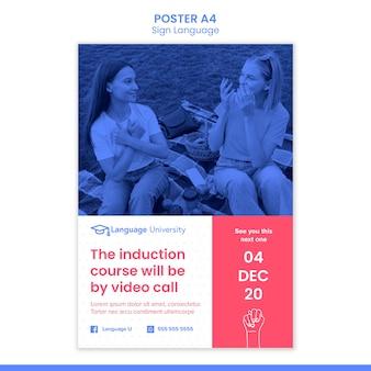 Plakat w języku migowym ze zdjęciem