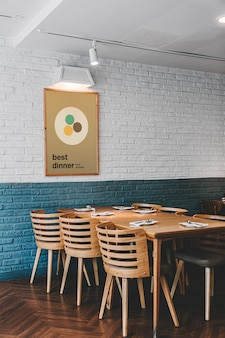 Plakat w makieta restauracji