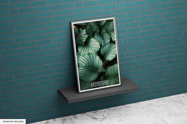 Plakat w ramie w kształcie liścia z zieloną ścianą
