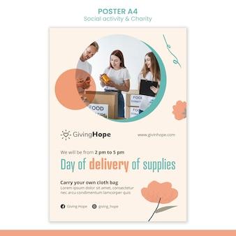 Plakat z działalnością społeczną i charytatywną