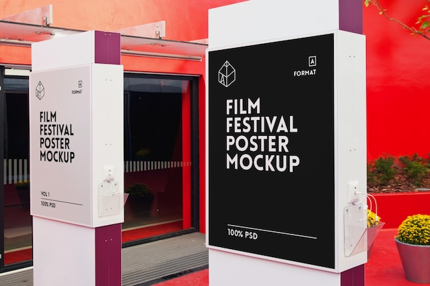 Plakat z festiwalu filmowego mock-up