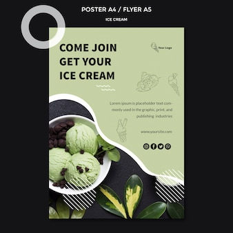 Plakat z koncepcją lodów