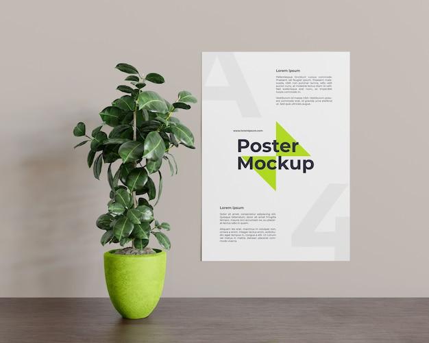 Plakat z makietą roślin w widoku z przodu
