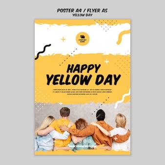 Plakat z szablonem żółty dzień