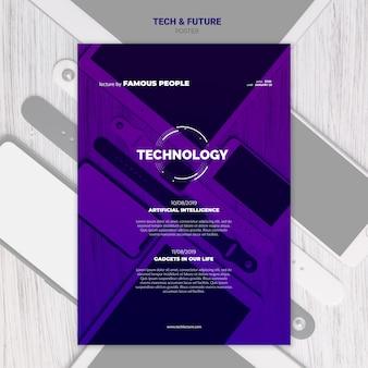 Plakat z technologią i koncepcją przyszłości