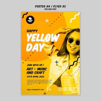 Plakat z żółtym wzorem dnia