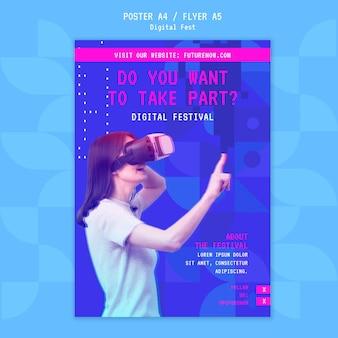 Plakat zestawu słuchawkowego wirtualnej rzeczywistości festiwalu cyfrowego