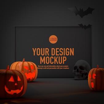 Plakatowa makieta na halloween obok niektórych dyń i nietoperzy